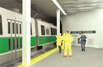 The Massachusetts Bay Transportation Authority's plans to turn an unused train tunnel and station into a training facility will provide a dedicated location for transit police and first responders to train in at any time without inconveniencing passengers (rendering shown).