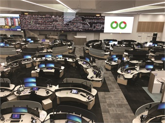 To further facilitate situational awareness, the world's largest operational LED command and control overview display is up on the wall in the front of the ROC control room.