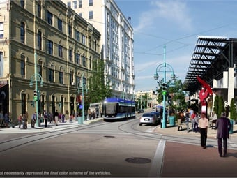 The initial 2.5-mile route of the Milwaukee Streetcar (rendering shown) will connect 80,000 downtown workers, 25,000 downtown residents and millions of annual visitors.