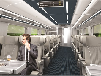 On each trainset, there is one Select (pictured) and three Smart coaches, riders can reserve specific seats when booking tickets through Brightline's mobile application, website, or station kiosks.