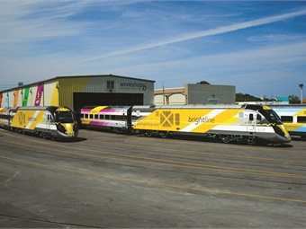 Workshop b is Brightline's new 12-acre railroad operations facility in West Palm Beach that serves to repair, maintain, clean, and store Brightline's trains. There are four tracks within the facility, two of which are covered by an 800-foot-long canopy.