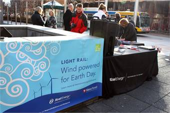 The transit system and Xcel Energy also commemorated Earth Day at a customer appreciation event at Xcel's headquarters, which is located near Metro Transit's busiest light rail station. Attendees were able to sign up for the Windsource program.