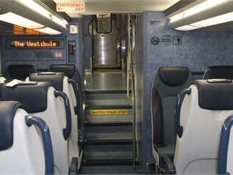 MTA's new Bombardier multi-level railcars feature LED destination screens, external public address speakers and a monitoring system that diagnoses all major train systems. Alex Mayes