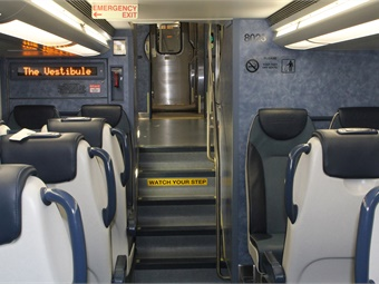 MTA's new Bombardier multi-level railcars feature LED destination screens, external public address speakers and a monitoring system that diagnoses all major train systems.
