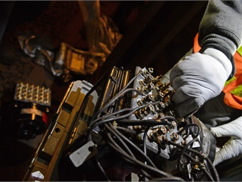 NYCT Signal Maintainers perform scheduled replacement of relay equipment.