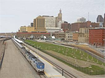 Amtrak service began arriving at the Depot on May 7th — the first time in more than 40 years, passenger trains began service from Union Depot.