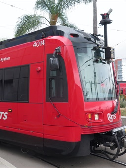 Using a front-mounted camera on a light rail vehicle that traveled on all three lines, a panorama of stitched images consisting of the entire MTS right-of-way was created.