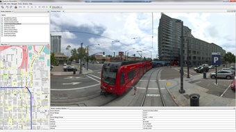 The Roadview Workstation is similar to Google's Street View system, which offers users panoramic views from on-the-ground positions.