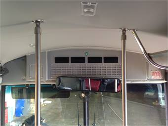 Rifled Air's BH-20 evaporator is designed to fit both the front and rear bulkhead of buses.