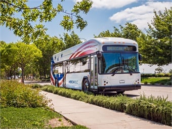 The GILLIG Battery Electric Bus will have a battery capacity of 444 kWh, with company officials expecting a real-world range of 150 miles based on an energy usage of 2.3 kWh per mile.