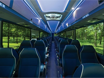 MCI worked with longtime partner BMW Designworks to upgrade seating, trim and lighting for the new motorcoach.