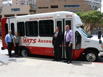 MTS began using the StarCraft product for its paratransit services in 2008. Pictured (from L to R) Jay Washburn, MTS manager of paratransit and minibus; Vassilena Lerinska, MTS transit operations specialist; Paul Jablonski, MTS CEO; and Bill Spraul, MTS Bus COO. Photos courtesy MTS