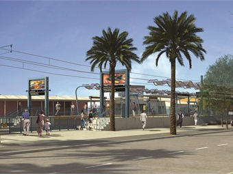 The 26th Street/Bergamot at-grade station will feature two side platforms located adjacent to Bergamot Station, on the southeast corner of Olympic Blvd. and 26th St. Nearby destinations include an arts center, a hospital, an office complex and public parks. Passengers can make connections to a Santa Monica Big Blue Bus line.