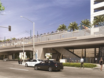 The Exposition/Bundy aerial station will feature a center platform, which will be accessible via stairs and elevator, on a bridge structure over Bundy Dr., just north of Exposition Blvd. Nearby destinations include business centers and the West Los Angeles and Mar Vista neighborhoods. The station's park-and-ride facility is a surface lot with approximately 250 spaces. Passengers can make connections to Santa Monica Big Blue Bus lines.