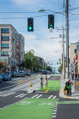 A two-way protected bikeway runs alongside the new streetcar line through the First Hill and Capitol Hill neighborhoods.