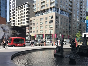 Autonomous vehicle demonstrations were featured during the 2017 UITP Summit held in May in Montreal. Transdev and its vehicle developer partner, EasyMile, showcased their electric vehicle (pictured in red), which shuttled people along Montreal's Olympic Park.