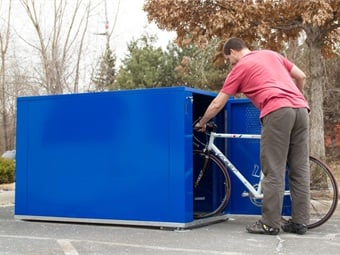 Dero's bike lockers are completely enclosed steel boxes that allow people to put their entire bike inside, close the locker's door, and then lock the entire structure.