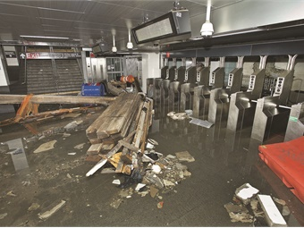 A view of the flooded South Ferry Station -- post Sandy. Photo: MTA/Patrick Cashin