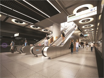 Rendering of Paddington Station platform level. AECOM