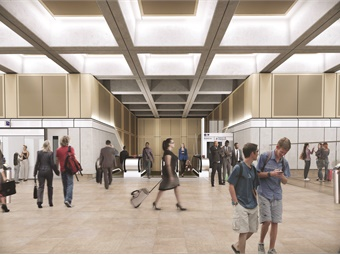 Rendering of Farringdon Station's Charterhouse Street ticket hall. AECOM