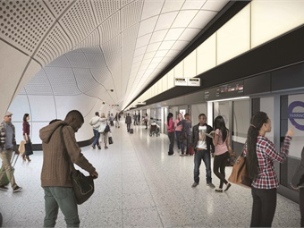Rendering of Farringdon Station proposed platform. AECOM