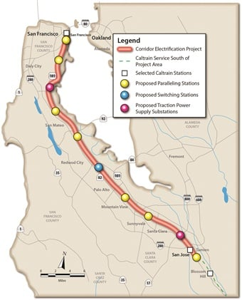 Caltrain provides commuter rail service along the San Francisco Peninsula, through the South Bay to San Jose and Gilroy.