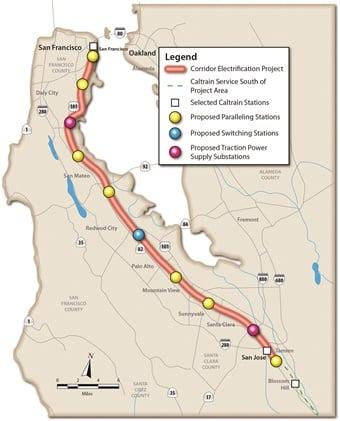 Caltrain provides commuter rail service along the San Francisco Peninsula, through the South Bay to San Jose and Gilroy.