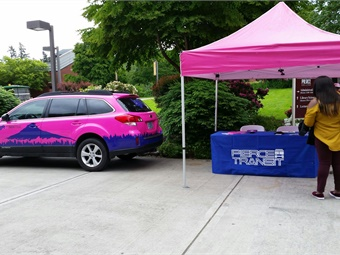 A Lyft promotional event held to build awareness of its partnership with Lakewood, Wash.'s Pierce Transit. 