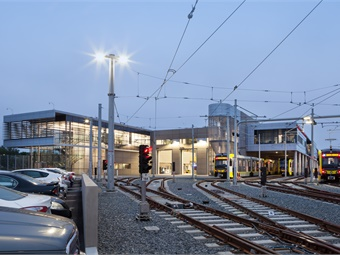 L.A. Metro's Expo Division 14 Light Rail Operations & Maintenance Facility in Santa Monica, Calif., which is pursuing LEED-NC Gold rating. Photo: Chang Kim Photography