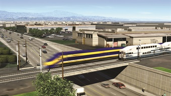 The California High-Speed Rail project, which will eventually connect San Diego, Los Angeles, San Francisco, and Sacramento, will be implemented in phases. Rendering via CHSRA