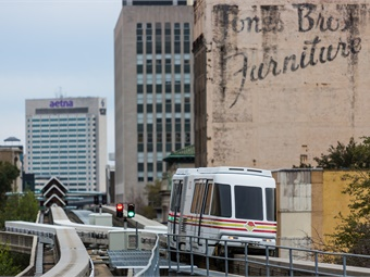 The 2.5-mile automated monorail system is interconnected with JTA's Trolley service and provides customers with expanded mobility options downtown.