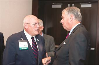 With Secretary Ray LaHood between sessions at the 2010 Western High Speed Rail Alliance meeting.