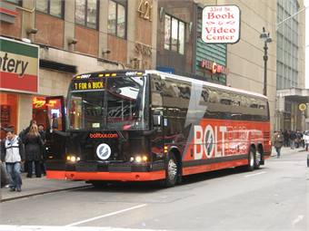 Curbside intercity bus carriers BoltBus and Megabus have together grown by more than 25 % over the past 18 months.