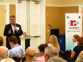 WeGo Public Transit President/CEO Stephen Bland talks transit projects at an nMotion plan event.