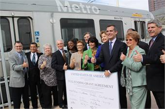 In California to announce a $670 million construction grant agreement to help build the Regional Connector light rail line in the heart of Los Angeles.