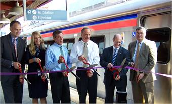 Skiver joined Sen. Tom Carper (third from right) and SEPTA CEO Joe Casey (far right) for the delivery of SEPTA's new railcars.