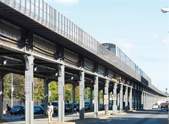 The 100-plus-year-old Long Island Rail Road Atlantic Avenue Viaduct carries two tracks and more than 25,000 passengers daily. Photo: HNTB