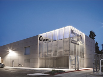 Metro's Division 14 Expo Light Rail and Operations Maintenance Facility is one of the first buildings that passengers on the new Expo Light Rail Line see on their way into Santa Monica. Photo by Chang Kim.