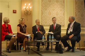 "Monday's ""Financing New Projects in the U.S."" panel featured (from left to right): the FRA's Karen Hedlund; Sherry Little of Spartan Solutions; Blackhill Partners' Greg Moore; Adam Giuliano of Freshfields Bruckhaus Deringer and Mayer Brown's David Narefsky."