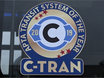 C-TRAN was named APTA's 2019 national mid-sized Transit System of the Year for agencies with ridership between four million and 20 million trips per year.