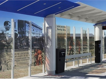 RTC's 4th & Prater stations will integrate glass panels etched with historical photographs relevant to local cultural history.