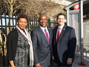 In December, the JTA launched its Ultimate Urban Circulator Autonomous Vehicle Test and Learn track. At the event ( L to R) are Fla. State Rep. Tracie Davis, Ford, and Fla. State Rep. Jason Fischer.