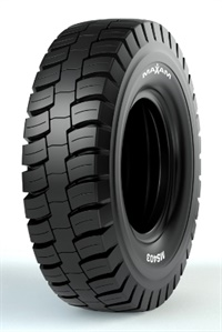 Maxam says the MS403's versatile tread design allows flexibility in applications from smooth haul roads to rough and rocky terrain while providing maximum productivity.