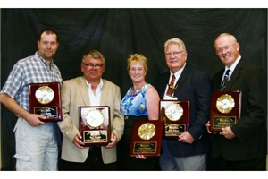 From left: Steve Keute, Brad Thoelke, Caryn Erickson, Rich Hudson and Lowell Hawton were five of the six recipients of the Minnesota School Bus Operators Association's Transportation Specialist Award.