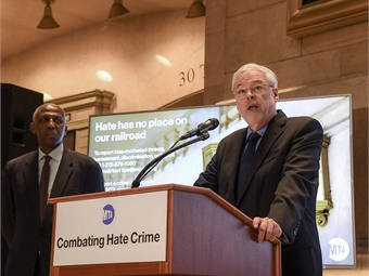 MTA Chairman and CEO Patrick J. Foye at a Jan. 27, 2020 press event announcing the launch of a public messaging campaign aimed at combating hate crimes. 