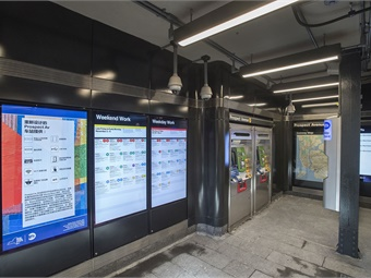 Station interior after renovation showcases new lighting and signage. Photo: Metropolitan Transportation Authority-Patrick Cashin