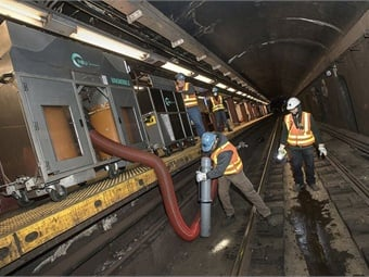 Earlier this year, the MTA tested two types of track vacuum systems. The new units are part of the MTA's ongoing Track Sweep initiative, which is a multi-pronged plan to dramatically reduce the amount of trash on subway tracks. Photo: Metropolitan Transportation Authority.