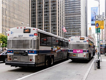 The size and scope of New York City's bus system is unparalleled, with 5,700 buses, 330 routes, and 15,000-plus stops serving well over two million passengers each day. Photo: Anton Ivanov/Shutterstock.com