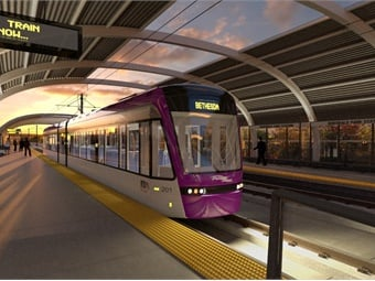 A rendering of the a Purple Line railcar. The project will make travel across Montgomery and Prince George's counties faster and more reliable for thousands of Maryland residents, improving access to major business and activity centers in the state's most populated counties. Md. MTA
