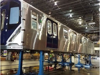 The R211 cars will have a new blue front with large windows, LED headlights, and a blue stripe with gold accents along the sides.MTA